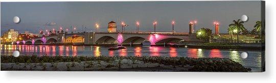 Flagler Bridge In Pink Acrylic Print