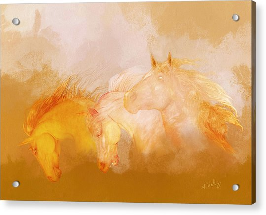 Acrylic Print featuring the painting Flaxen Manes by Valerie Anne Kelly