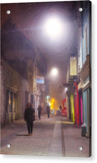 Foggy Night In The Heart Of Galway Acrylic Print by Mark Tisdale