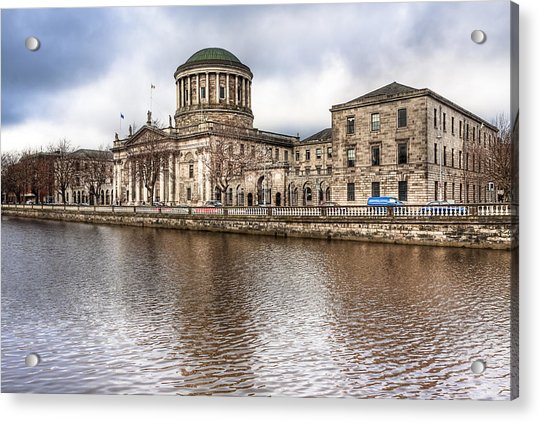 Four Courts On The River Liffey In Dublin Acrylic Print by Mark Tisdale
