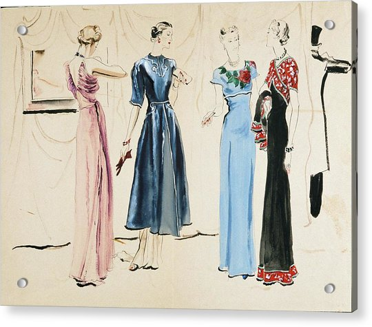 Four Models In Dresses By Alix Acrylic Print