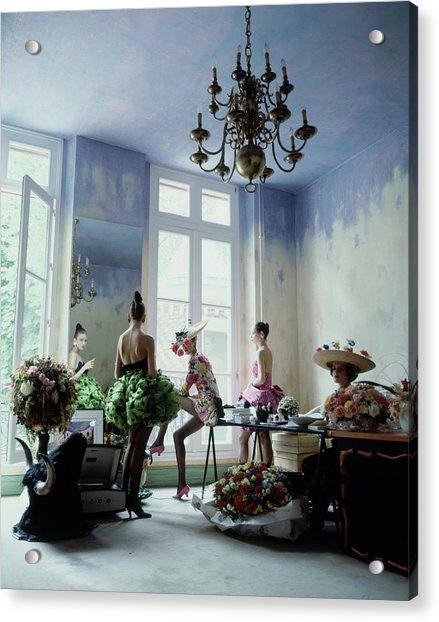 Four Models Inside Christian Lacroix's Studio Acrylic Print