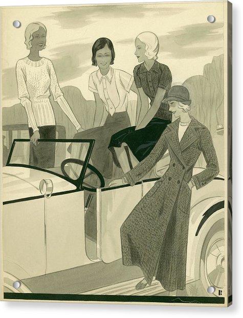 Four Women With A Car Acrylic Print by William Bolin