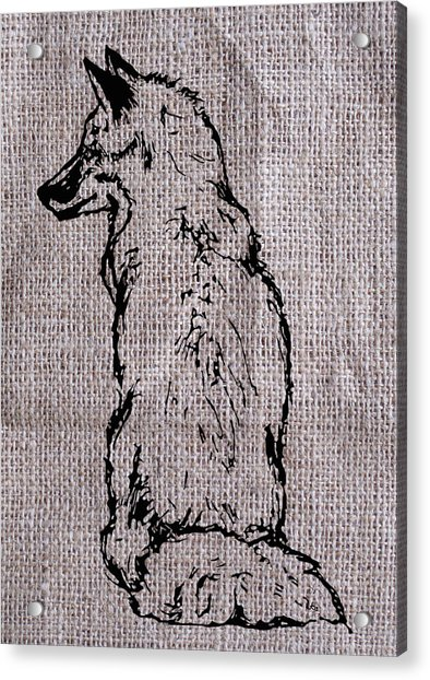 Fox On Burlap  Acrylic Print