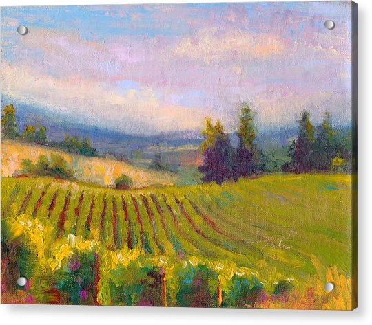 Acrylic Print featuring the painting Fruit Of The Vine - Sokol Blosser Winery by Talya Johnson