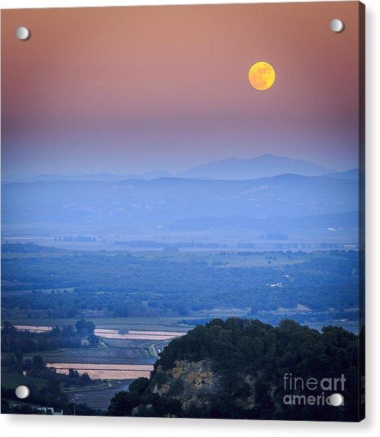Full Moon Over Vejer Cadiz Spain Acrylic Print