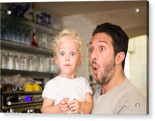 Funny Portrait Of Father And Daughter Acrylic Print by - Locrifa -