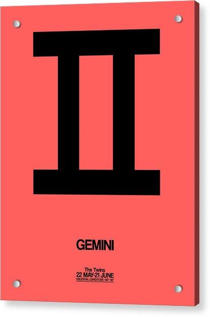 Gemini Zodiac Sign Black Acrylic Print