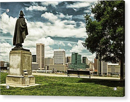 General Smith Overlooks Baltimore Harbor Acrylic Print
