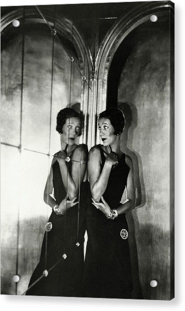Gertrude Lawrence By A Mirror Acrylic Print by Cecil Beaton