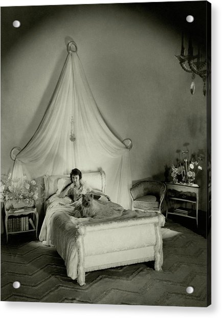 Gertrude Lawrence In Bed Acrylic Print by Cecil Beaton