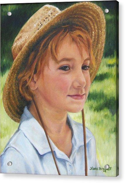 Girl In Straw Hat Acrylic Print