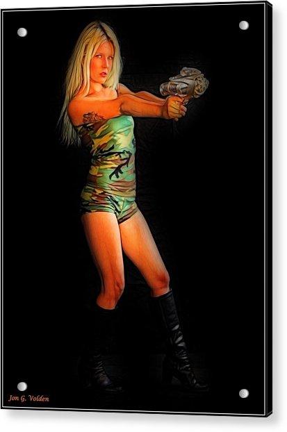 Girl With Ray Gun Acrylic Print