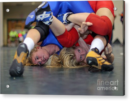 Girls Wrestling Competition Acrylic Print