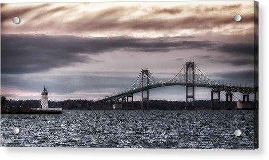 Goat Island Lighthouse And Newport Bridge Acrylic Print