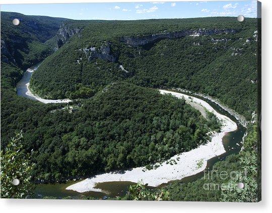 Going Down Ardeche River On Canoe. Ardeche. France Acrylic Print