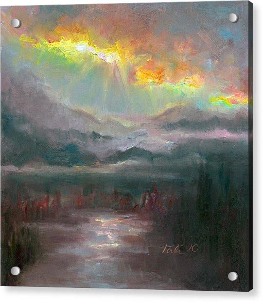 Acrylic Print featuring the painting Gold Lining - Chugach Mountain Range En Plein Air by Talya Johnson