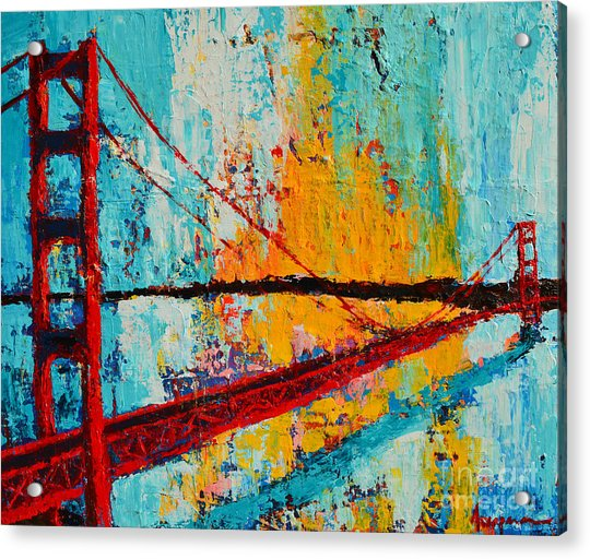 Golden Gate Bridge Modern Impressionistic Landscape Painting Palette Knife Work Acrylic Print