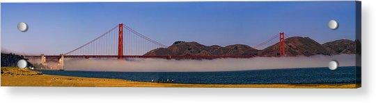 Golden Gate Bridge Over Fog Panorama Acrylic Print