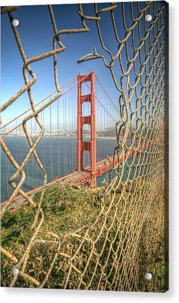 Golden Gate Through The Fence Acrylic Print