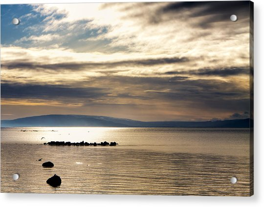 Golden Waters Of Galway Bay Acrylic Print by Mark Tisdale