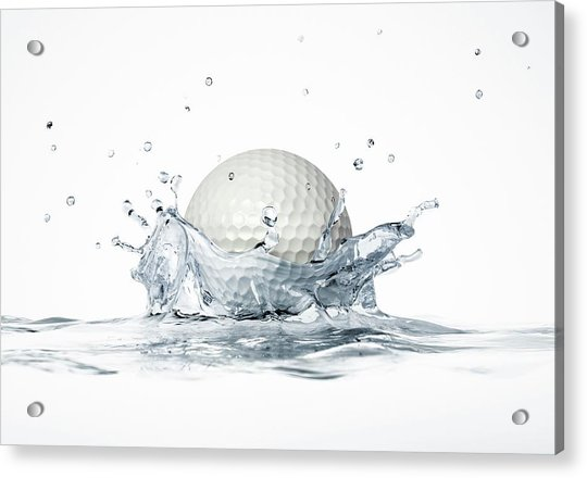 Golf Ball Splashing Into Water Acrylic Print