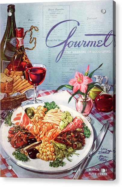 Gourmet Cover Illustration Of A Plate Of Antipasto Acrylic Print