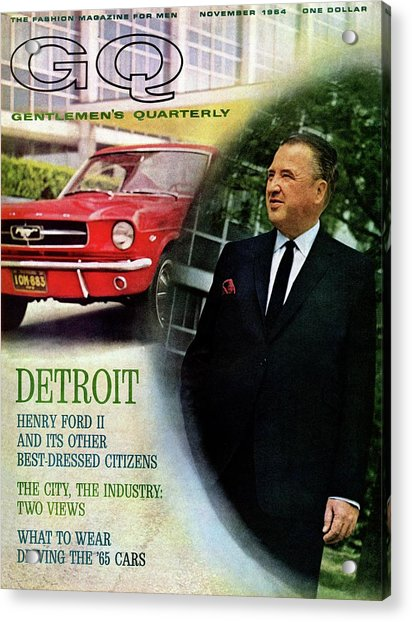 Gq Cover Of Henry Ford II And 1965 Ford Mustang Acrylic Print