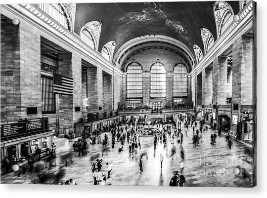 Grand Central Station -pano Bw Acrylic Print