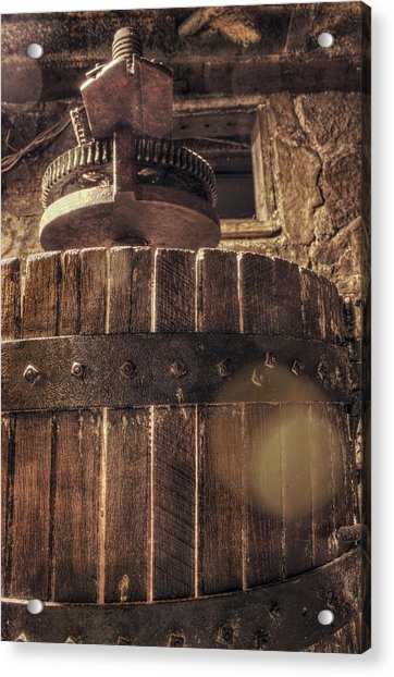 Acrylic Print featuring the photograph Grape Press At Wiederkehr by Jason Politte