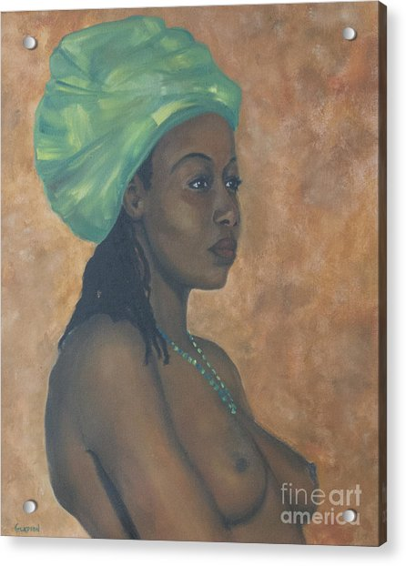 Acrylic Print featuring the painting Green Headwrap by Dwayne Glapion
