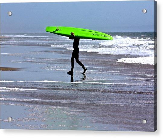 Green Surfboard Acrylic Print