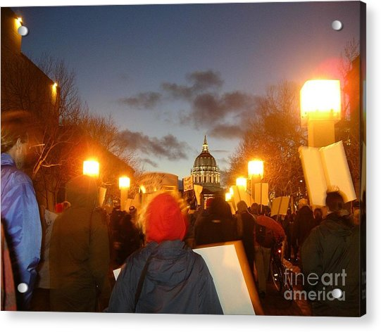 Acrylic Print featuring the photograph Haiti Protest by Cynthia Marcopulos