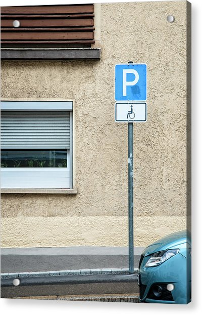 Handicapped Parking Sign And Car Acrylic Print