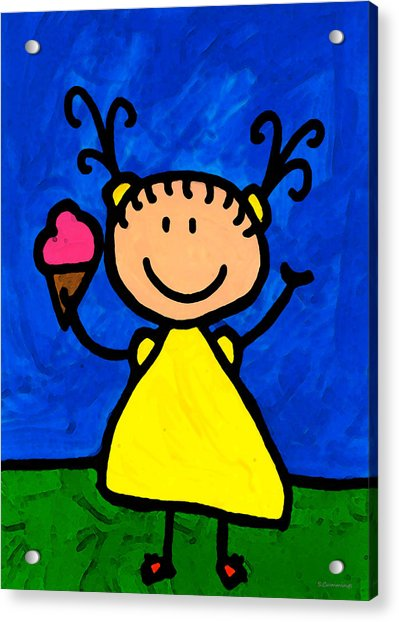 Happi Arte 3 - Little Girl Ice Cream Cone Art Acrylic Print