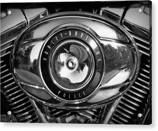 Harley-davidson Police B And W Acrylic Print