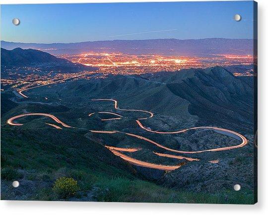 Highway 74 Palm Desert Ca Vista Point Light Painting Acrylic Print