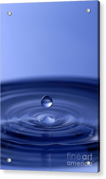 Hovering Blue Water Drop Acrylic Print