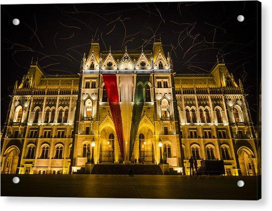 Hungarian Parliament At Night Acrylic Print
