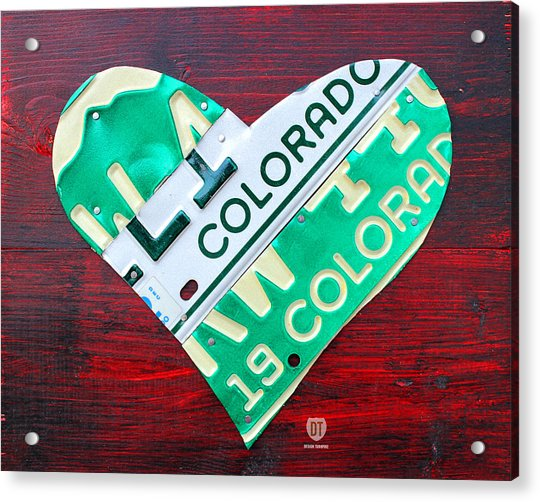 I Heart Colorado License Plate Art Acrylic Print