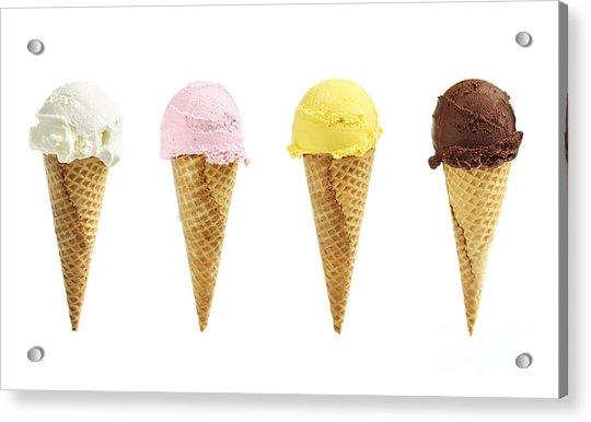 Ice Cream In Sugar Cones Acrylic Print