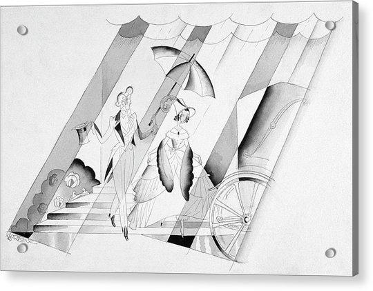 Illustration Of A Man Holding An Umbrella Acrylic Print