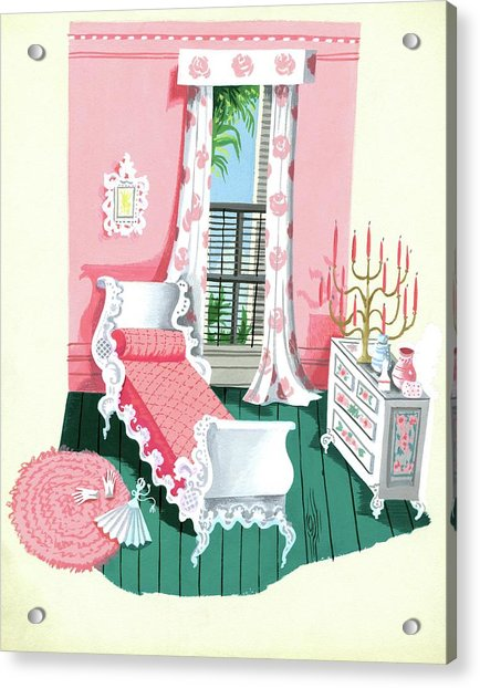 Illustration Of A Victorian Style Pink And Green Acrylic Print