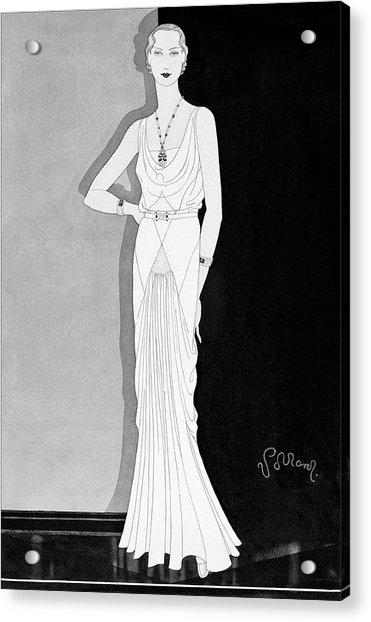 Illustration Of A Woman In A Lelong Dress Acrylic Print