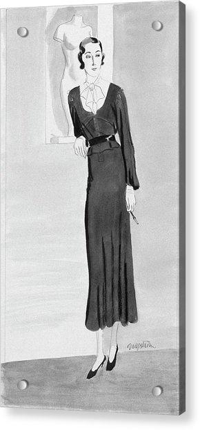 Illustration Of A Woman Wearing A Black Dress Acrylic Print