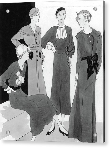 Illustration Of Four Well Dressed Women Acrylic Print