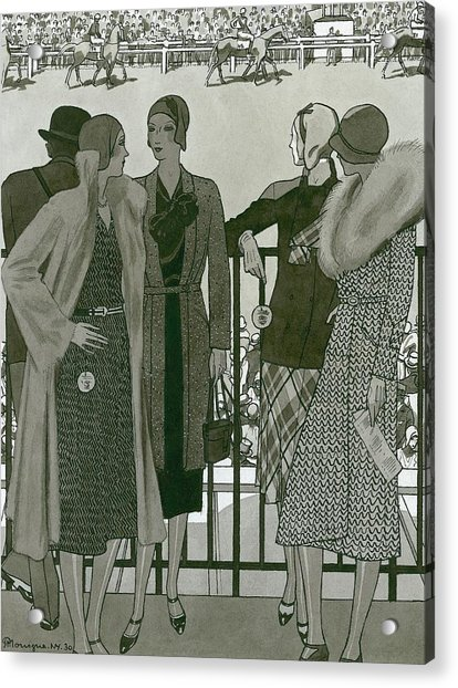 Illustration Of Four Women At The Grand National Acrylic Print