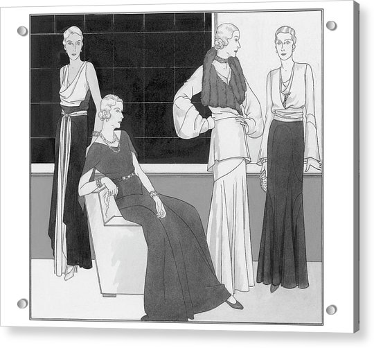 Illustration Of Four Women Wearing Over Forty Acrylic Print
