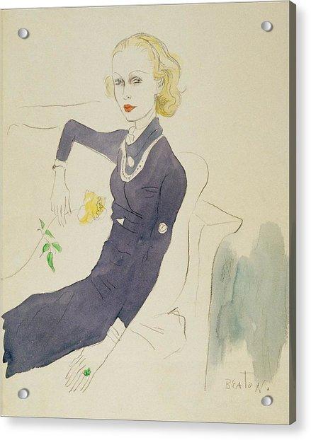 Illustration Of Lady Abdy Sitting On Sofa Acrylic Print