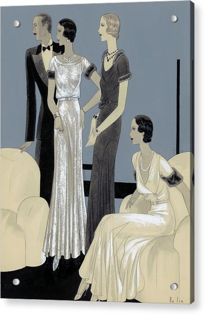 Illustration Of Three Women And Man In A Sitting Acrylic Print
